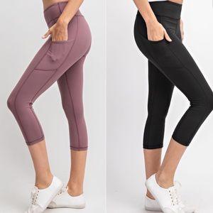 gallery_of_gems Pants - Buttery Soft Side Pocket Black Capri Leggings!